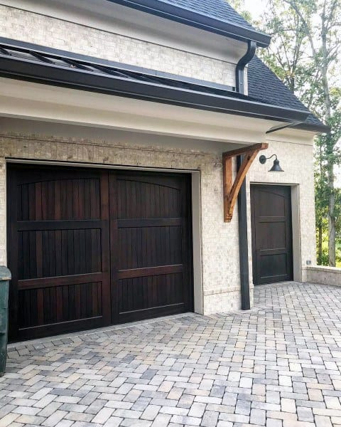 Detached Garage Ideas With Stained Brown Wood Door
