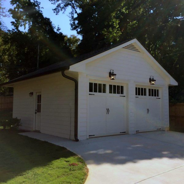 Detached Garage Two Car White Painted Ideas