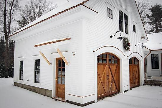 Detached Garage Wood Door With White Painted Exterior Ideas