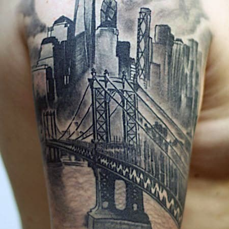 50 bridge tattoo design ideas for men architectural ink for All city tattoo