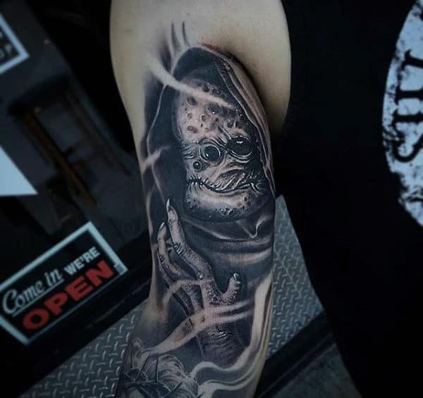 Detailed Alien Mens Sleeve Tattoos