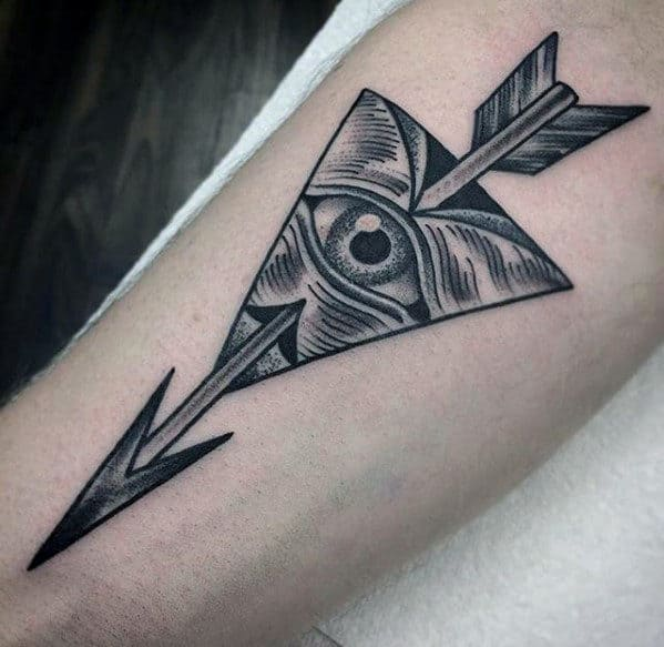 Detailed All Seeing Eye With Arrow Guys Traditional Inner Forearm Tattoo