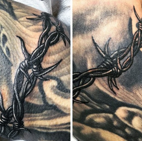 Detailed Barbed Wire Shaded Mens Tattoo Design Inspiration