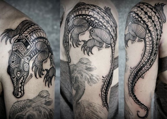 Detailed Black Alligator Tattoo Guys Shoulder