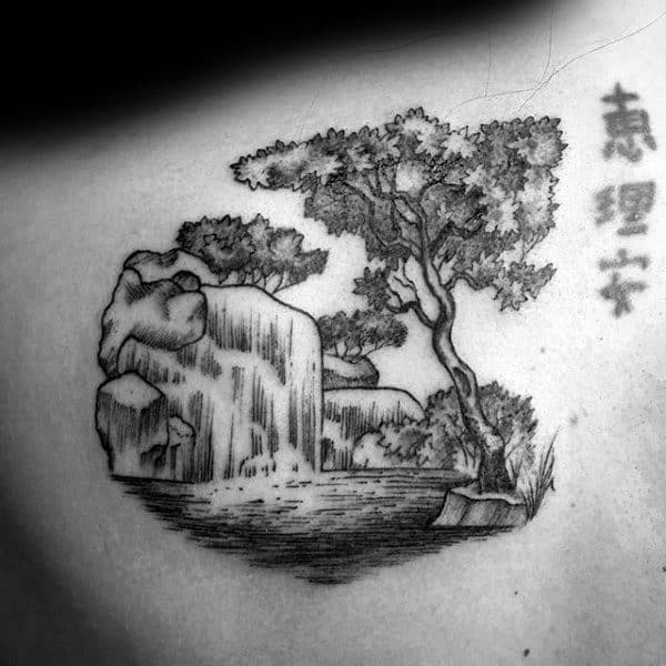 Detailed Black And Grey Japanese Guys Waterfall Back Tattoo