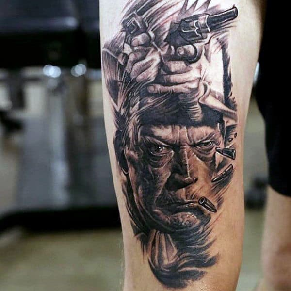 Detailed Black And White Tattoo On Guy Of Old Man Smoking With Gun