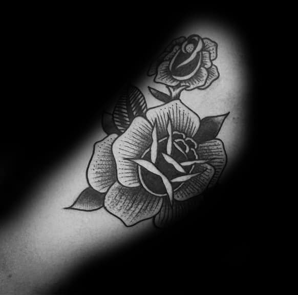 Detailed Black Rose Male Tattoo On Arm
