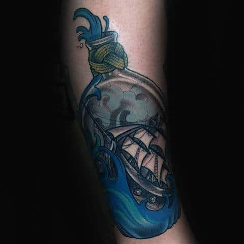 Detailed Blue Ink Ship In A Bottle Arm Tattoos For Guys