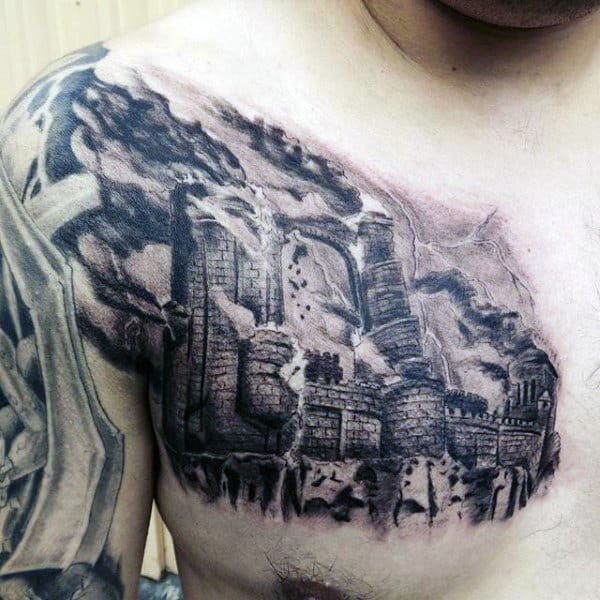 Detailed Broken Castle Upper Chest Tattoo For Men