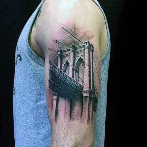 Detailed Brooklyn Bridge Arm Tattoo On Guy