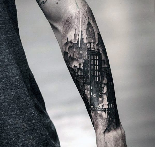 Detailed City Skyline Buildings Mens Sweet Tattoo On Forearms