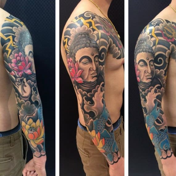 Detailed Colorful Religious Buddha Tattoo For Men On Arms