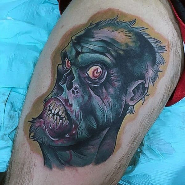 Detailed Cool Mens Thigh Tattoo Of Chomping Zombie