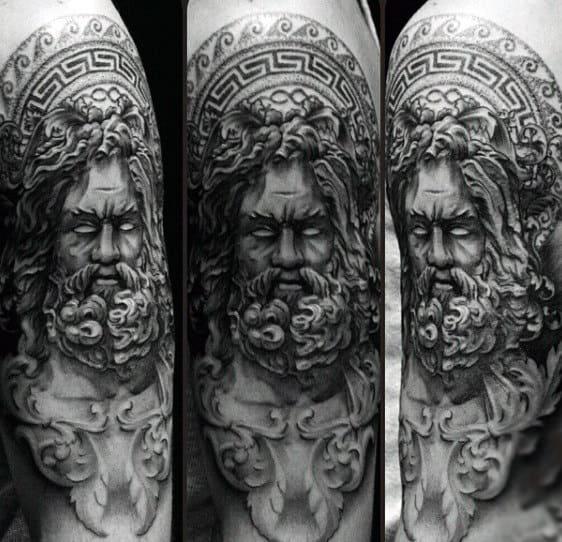 Detailed Dark Greek God Zeus On Upper Arm