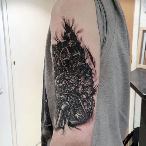 Detailed Dark Steampunk Tattoo Guys Arms