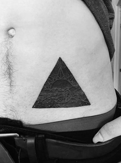 Detailed Dark Triangle Tattoo On Lower Back For Gentlemen