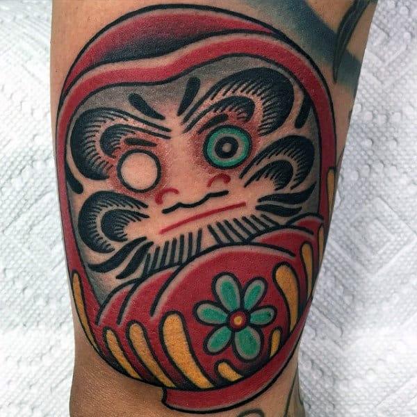 Detailed Daruma Doll Mens Red Ink Forearm Tattoo