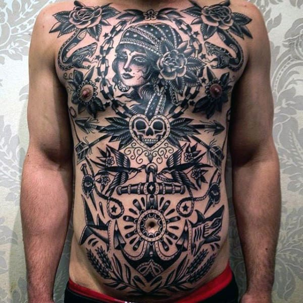 Detailed Design Tradtional American Black Tattoo Mens Torso