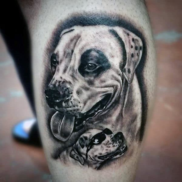 Detailed Dog With Sunglasses Shaded Black In Leg Calf Male Tattoo