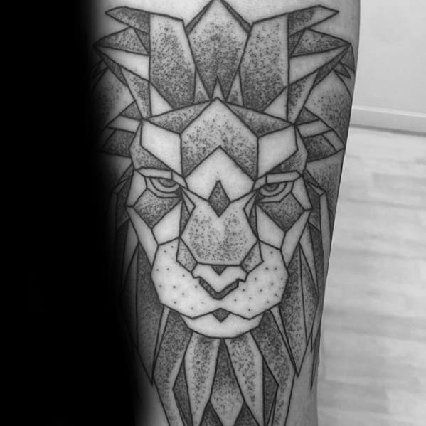 Detailed Dotwork Arm Geometric Lion Guys Tattoos