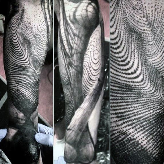 Detailed Dotwork Male Fingerprint Full Sleeve Tattoos