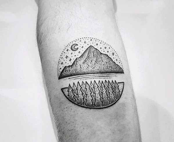Detailed Dotwork Small Male Nature Forearm Circle Tattoos