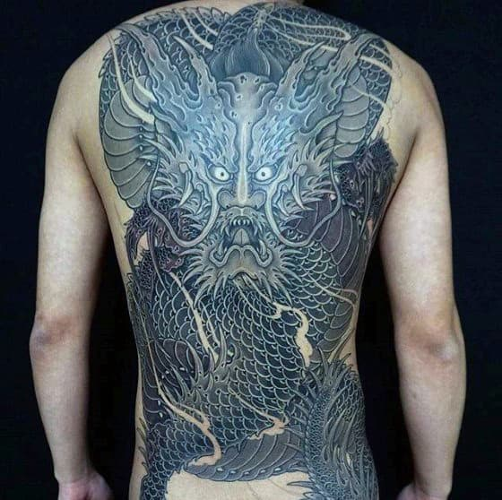 Detailed Dragon Japanese Male Back Tattoo