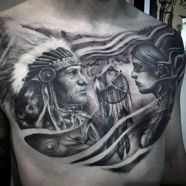 Detailed Dreamcatcher Native American Guys Chest Tattoos