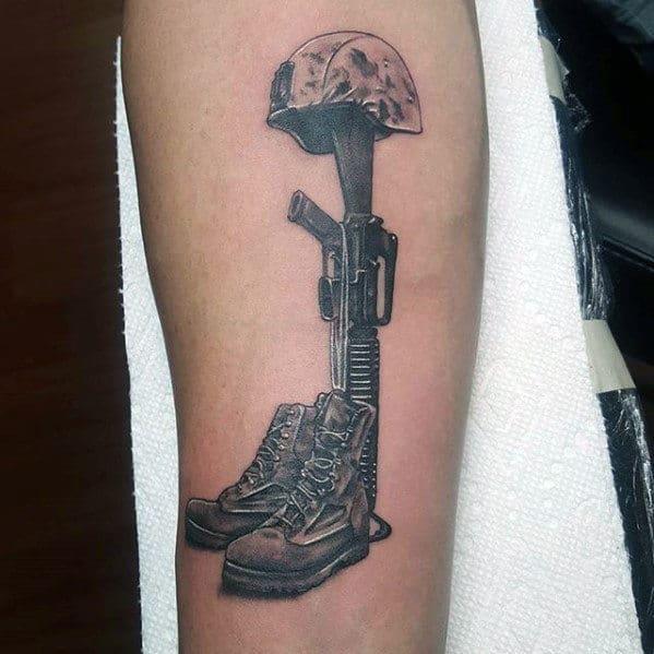 Detailed Fallen Soldiers Cross Mens Forearm Tattoo Ideas