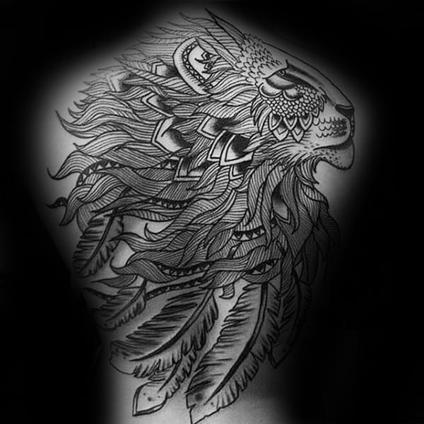 Detailed Feather Lion Mens Full Back Tattoos