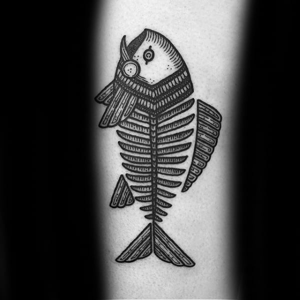 Detailed Fine Lines Fish Skeleton Tattoo Ideas For Guys
