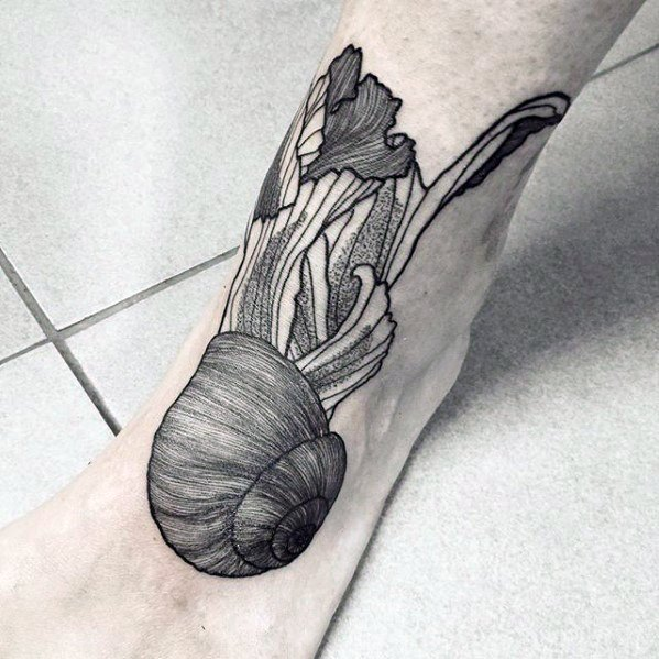 Detailed Foot Snail Mens Tattoo Designs