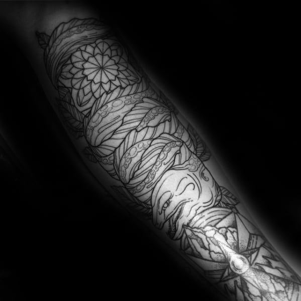 Detailed Full Arm Masculine Eel Tattoos For Men