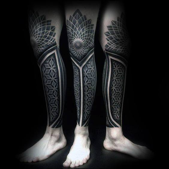 Detailed Geometric Pattern Guys All Black Knee And Leg Sleeve Tattoo
