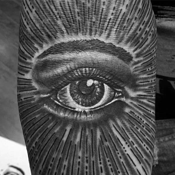 Detailed Glowing Eye Male Ditch Tattoo Design Inspiration