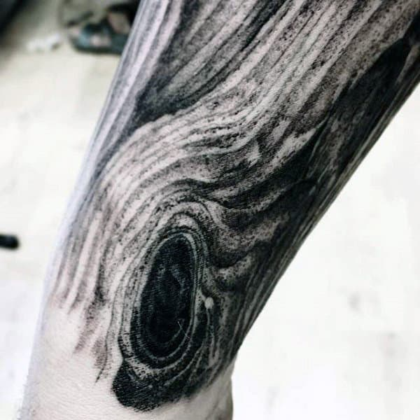 Detailed Grain Wood Carving Mens Forearm Sleeve Tattoo Designs