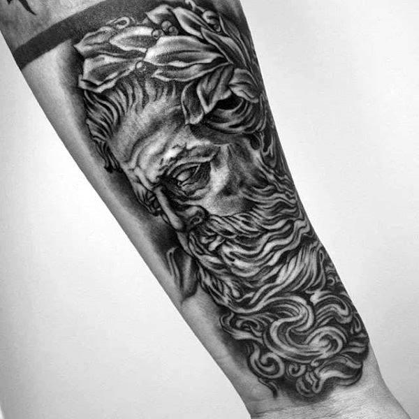 Detailed Greek God Zeus On Arms For Men