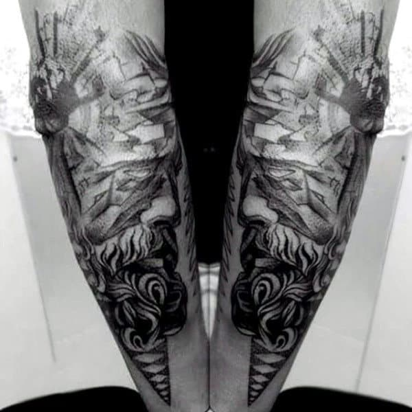 Detailed Greek Myth Zeus Tattoos On Arm For Men