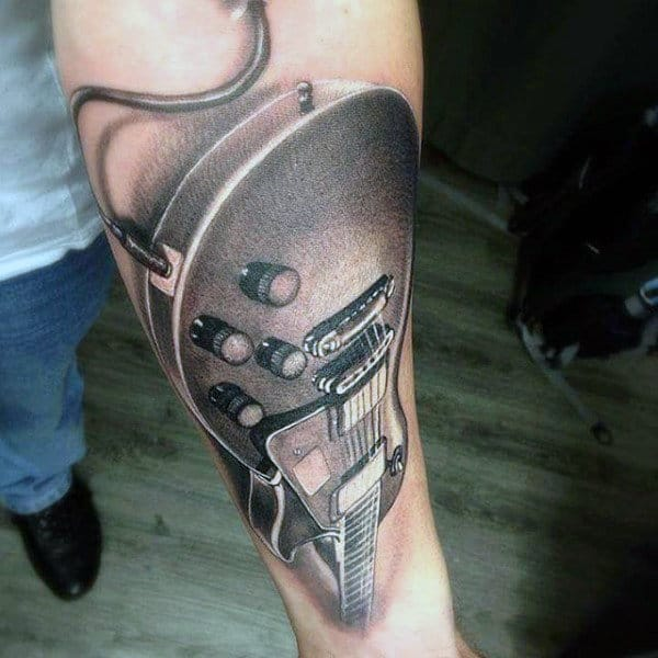 Detailed Guitar Tattoo On Guys Arms