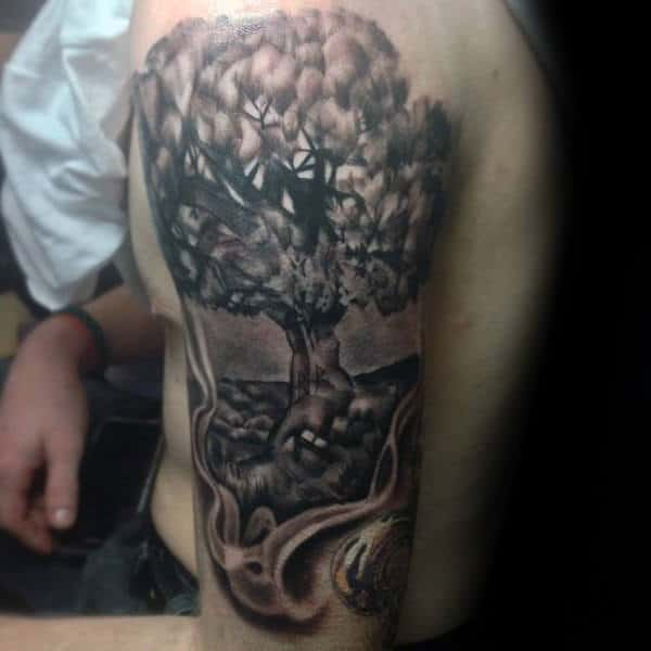 Detailed Guys Amazing Family Tree Tattoos Half Sleeve