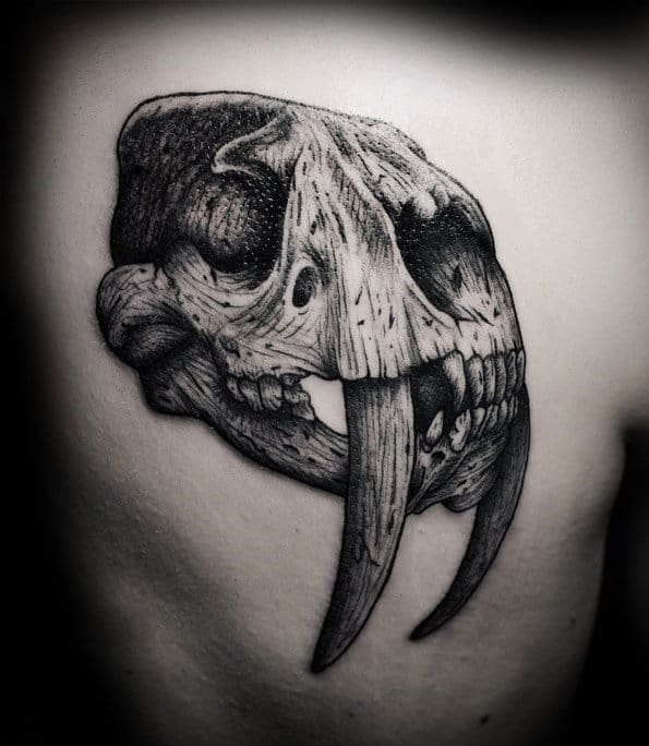 Detailed Guys Animal Skull Back Tattoo Ideas