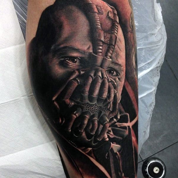 Detailed Guys Bane Leg Tattoo Ideas