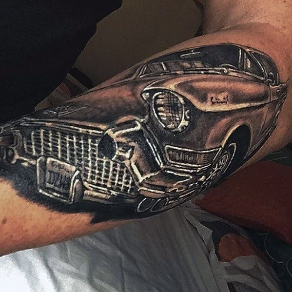 Detailed Guys Cadillac Classic Car Outer Forearm Tattoo Design Ideas