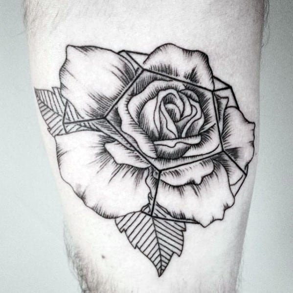 Detailed Guys Geometric Rose Leg Tattoo Ideas