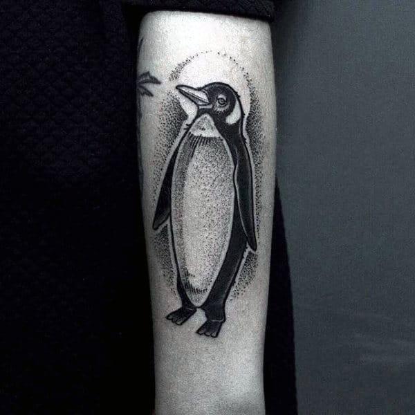 Detailed Guys Penguin Dotwork Forearm Tatoto