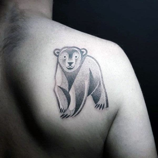 Detailed Guys Polar Bear Dotwork Shoulder Blade Tattoos