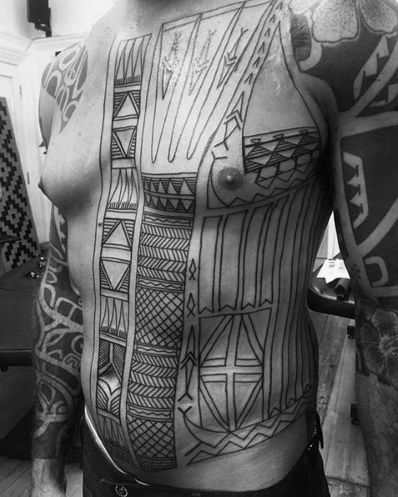 Detailed Guys Sick Tribal Full Chest Tattoo Design Inspiration