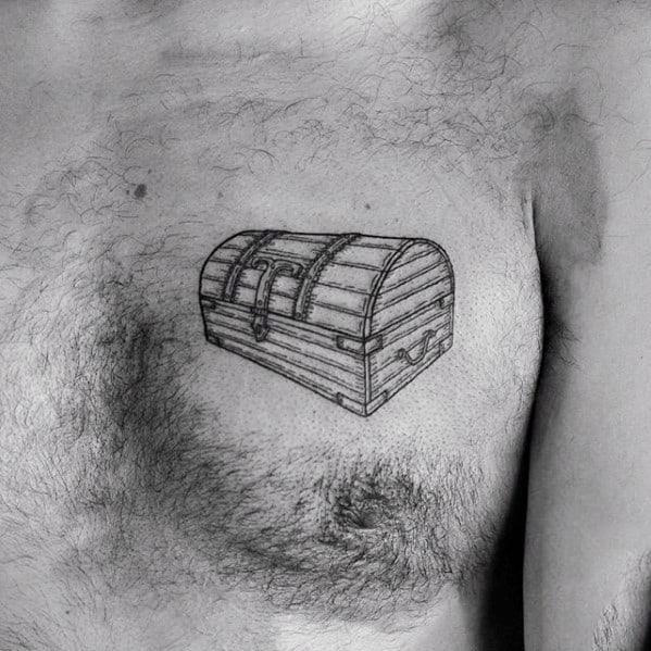 Detailed Guys Vintage Treasure Chest Upper Chest Tattoos