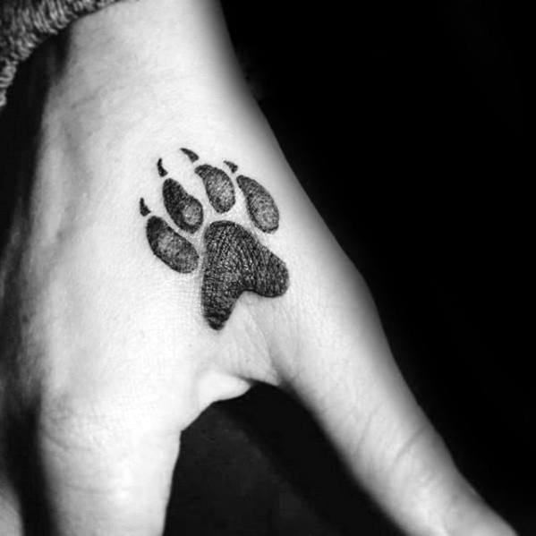 Detailed Hand Mens Small Dog Paw Print Tattoo