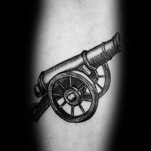 Detailed Inner Forearm Black And Grey Mens Cannon Tattoo Designs